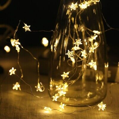 LED Battery Stars String Fairy Lights Warm White /Multi Colour Copper Wire Room