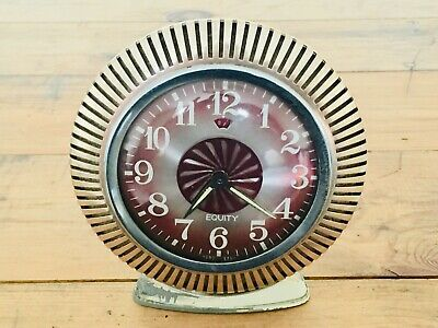 Vintage Equity Hong Kong Alarm Clock Kaleidoscope Movement in Centre - Working