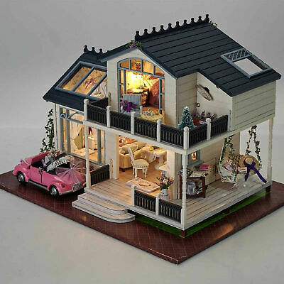 DIY Wooden Deluxe Villa Dolls House Miniature Dollhouse w/ Furniture Great Gift