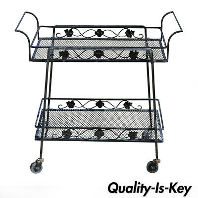 Vintage Russell Woodard Garden Patio Wrought Iron Rolling Serving Bar Cart