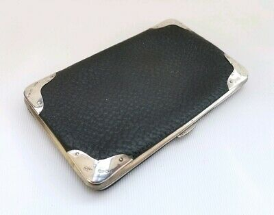 Vtg 1905 Adolph Frankau Solid Silver Mounted Dk Green Leather Sovereign Wallet