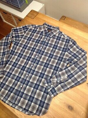 BEAMS PLUS - Flannel Shirt - Blue/Brown/White Check - Small