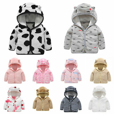 1pc Girls Boys Coat fleece Children Jackets Kids Hooded autumn winter Outerwear