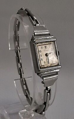 Vtg 1930s Cyma Art Deco Ladies Stainless Steel Wrist Watch Swiss Made 15 Jewels
