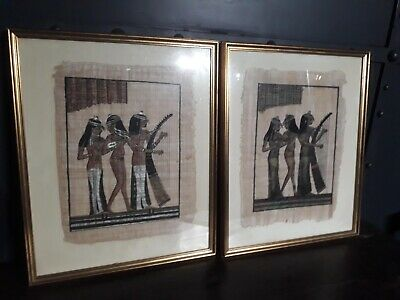 A Pair of Original Egyptian Style Artworks on Papyrus