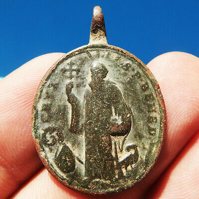 Large St Benedict Cross Medal Antique Religious 18Th Century Charm Found