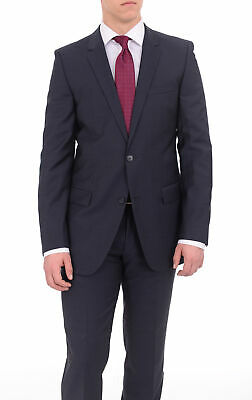 29e4ba86f Hugo Boss Aamon/hago Mens Slim Fit Navy Blue Textured Two Button Wool Suit
