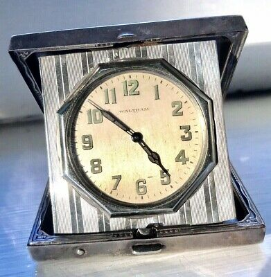 Vintage Waltham Sterling Silver Desk Travel Clock Art Deco Elgin Case WORKING