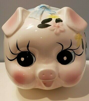 "Large Ceramic Vintage ""Pig"" Piggy Bank - Made in Taiwan - Excellent Condition"