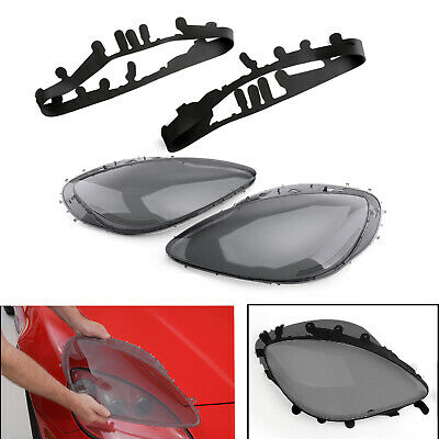 Smoke Headlight Lens Replacement Cover & Black Gaskets Kit For 13 C6 Corvette T2