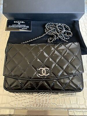 6b8e9d98f85c43 Chanel Classic Wallet On The Chain Quilted Black Patent Leather Silver Hrw  Gorg