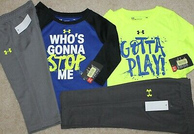 New! Boys Under Armour Lot 2 Outfits (2 Shirts, 2 Pants; Blue/Yellow) Size 18 mo