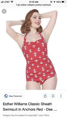 461bfca173f Modcloth Esther Williams Bathing Beauty One-Piece Swimsuit 20 W Red Anchors