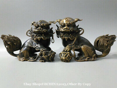 """10.5"""" Old Antique China Fengshui Bronze Carved Lucky Lion Statue Sculpture Pair"""