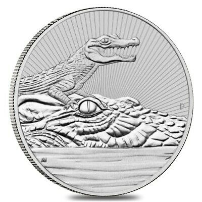 2019 2 oz Silver Australian Piedfort Crocodile Perth Mint Next Generation Series