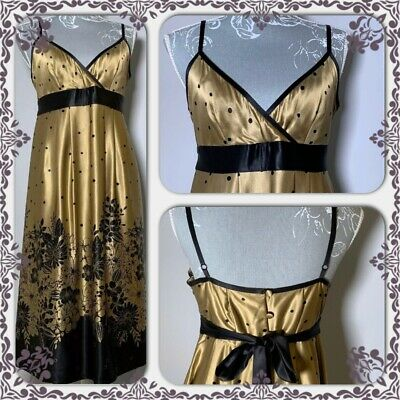 Ted Baker Luxury Gold And Black Dress Uk 12 Party Wedding 100% Silk