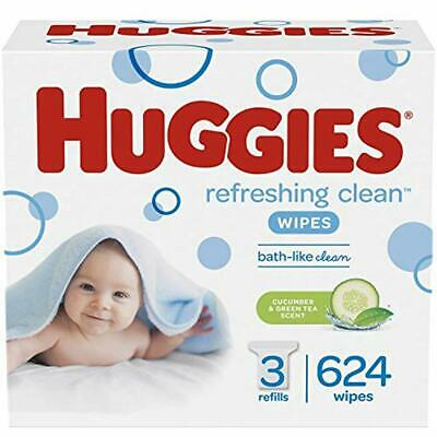 Huggies Baby Wipes Refreshing Clean Scented Hypoallergenic 3 Refill Packs (624)
