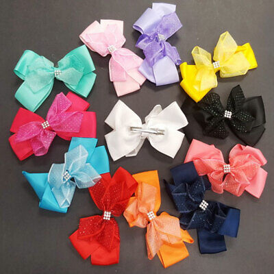 """12 pieces Baby Girls 5"""" Big Large Hair Bows Grosgrain Ribbon Clips Alligator Lot"""
