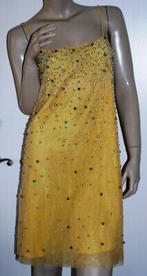 Vintage Yellow Tulle Jeweled & Beaded Cocktail Dress Slipdress Size XS or S