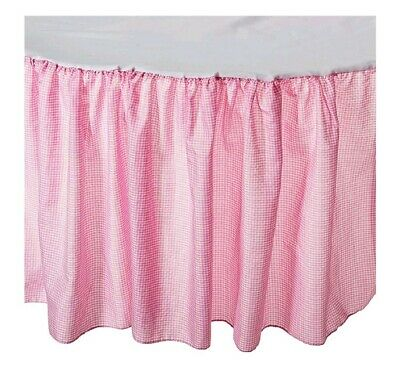 Babydoll Round Crib Gingham Dust Ruffles, Pink New Contents. Retails $88