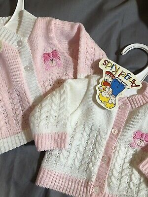 Baby Spanish Knitted Cardigan Premature Tiny Baby Girls 3-5lbs 5-8lbs White Pink