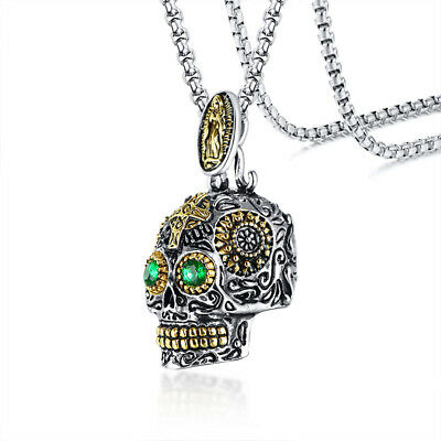 Sugar Skull Head Skeleton Pendant Men Necklace Mexican Day of The Dead Jewelry