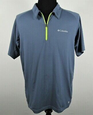 d5bd01f38a9 Columbia Omni-Wick Mens Polo L Blue Short Sleeve 1/4 Zip Wicking Shirt