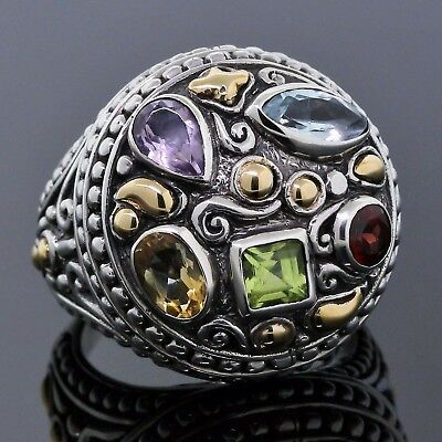MOSAIC Bali Jewelry Byzantine Multi-Stone 925 Silver 18K Yellow Gold Dome Ring