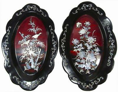 Wall Hanging Plaque Inlaid Mother of Pearl Set 2 Oval Plates 1950's