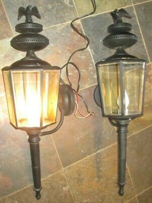 PAIR of Vintage EAGLE PAINTED BLACK Copper/Brass Porch Exterior Light Fixtures