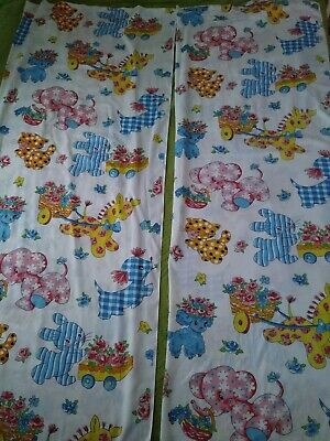 Vintage 1950s Kitsch  Cute Animals Baby Child Curtains Set 2 Panels Fabric A