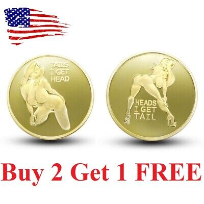 head or tail prank fun. Adult Novelty challenge Coin Mirror Finish Collectible