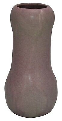Van Briggle Pottery 1915 Mauve and Matte Green Leaves And Flowers Vase 692