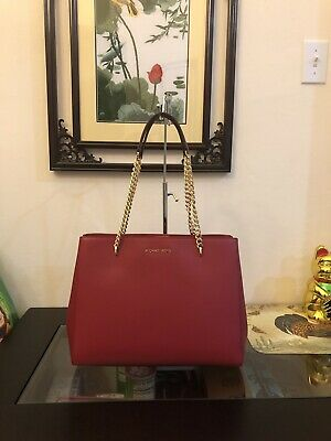 a7aabd9023c4 AUTHENTIC MICHAEL KORS ELLIS LARGE TOTE LEATHER BAG HANDBAG Scarlet $398