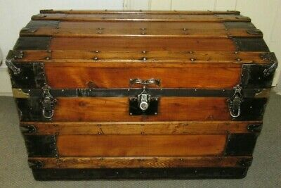 100% Quality Old Steamer Trunk Edwardian (1901-1910) Boxes/chests