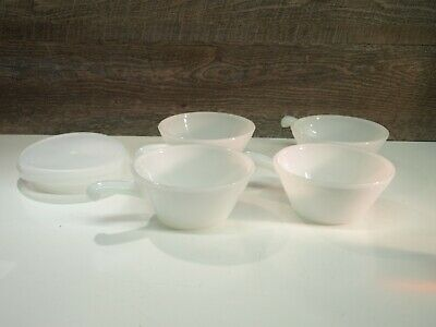 Vintage Anchor Hocking Fire King Meadow Green Soup Bowl 4 Set W/ Lids