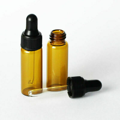 New 50PCS 5ml Amber Glass Dropper Bottle/Vials Essential Oil Container