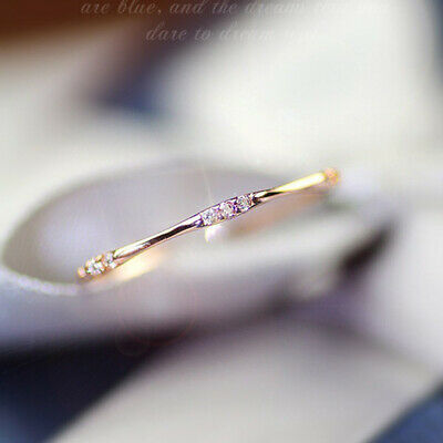 Cute Small Sapphire Finger Ring White Gold Wedding Engagement Band Jewelry Gifts