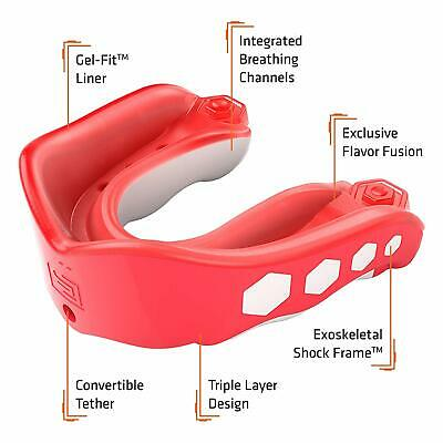 Shock Doctor Gel Max Flavor Fusion Convertible Mouth Guard Fruit Punch Adult