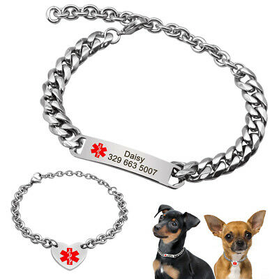 ESA Stainless Steel Dog Chain Collar Personalized Nameplate Custom for Puppy Cat