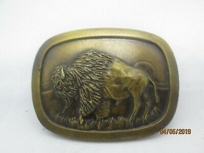"1977 ""Bison"" Brass Color Metal Belt Buckle-Indiana Metal Craft"
