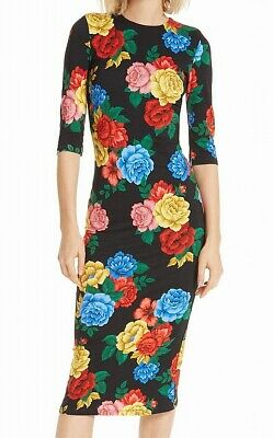8c80a03740c Alice + Olivia NEW Black Womens Size 2 Floral Print Sheath Dress  200 521