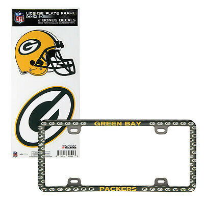 Green Bay Packers License Plate Frame High Performance Outdoor Vinyl Combo