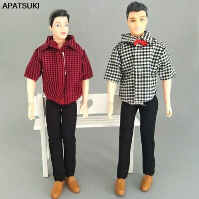 1:6 Boy Doll Clothes Plaided Shirt & Black Pants Trousers For Ken Doll Kids Toy