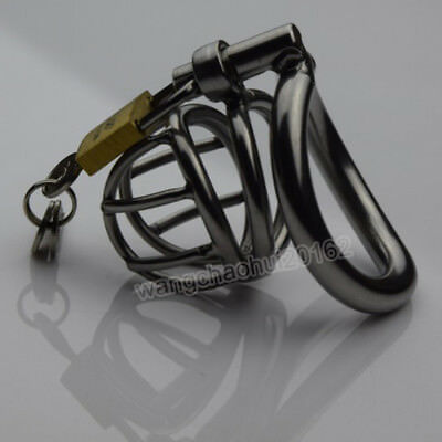 Arc Small Metal Curved Male Chastity Lock Mens Stainless Steel Bird Cage Device