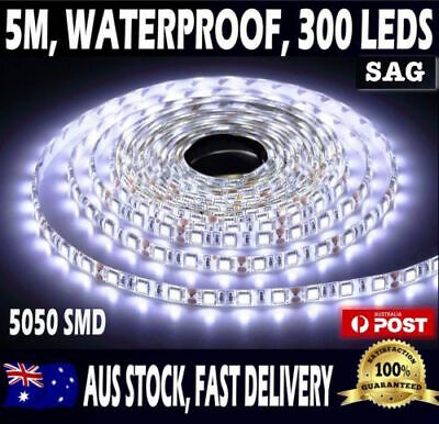 5m Flexible Bright LED Strip Lights 12V Waterproof 5050 SMD Cool White 300 LEDs!