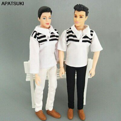 1set 1/6 Boy Doll Clothes White Striped Shirt & Trousers Pants For Ken Doll Toys