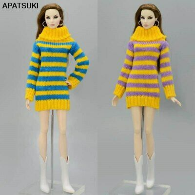 Handmade Knitted Woven Tops Doll Clothes Striped Sweater For 11.5in. Doll Kids