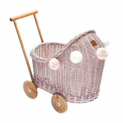 NEW CHILDRENS Wicker Dolls Pram - Dusty Pink