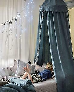 NEW CHILDRENS Muslin Bed Canopy - Dusty Blue